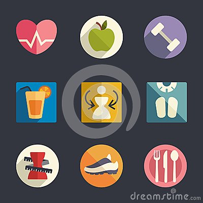 Flat icon set. Diet and fitness theme