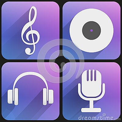 Flat icon set sound music for Web and Application.