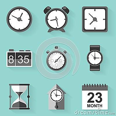 Free Flat Icon Set. Time. Clock. White Style Stock Photography - 46557512