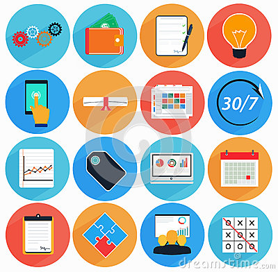 Free Flat Icon Set With Long Shadow In Style Of Financial Services Stock Photo - 40938670