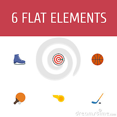 Flat Icons Arrow, Puck, Basket And Other Vector Elements. Set Of Fitness Flat Icons Symbols Also Includes Whistle, Start Vector Illustration