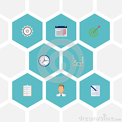 Flat Icons Contract, Task List, Calendar And Other Vector Elements. Set Of Job Flat Icons Symbols Also Includes Diagram Vector Illustration