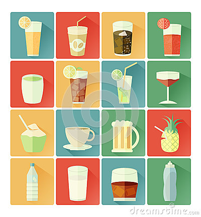 Free Flat Icons Drink Set Stock Images - 38567494