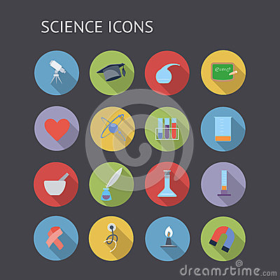 Flat icons for education and science