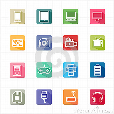 Free Flat Icons Electronic Devices And White Background Royalty Free Stock Photography - 44053407