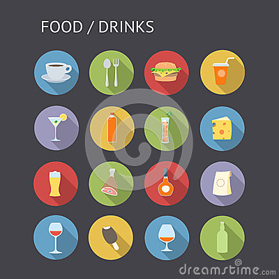 Free Flat Icons For Food And Drinks Stock Photo - 38155720