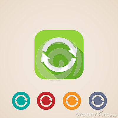 Free Flat Icons For Web And Mobile Applications With Reload Arrows Stock Image - 34853631