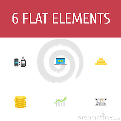 Flat Icons Ingot, Small Change, Remote Paying And Other Vector Elements. Set Of Finance Flat Icons Symbols Also Includes Vector Illustration