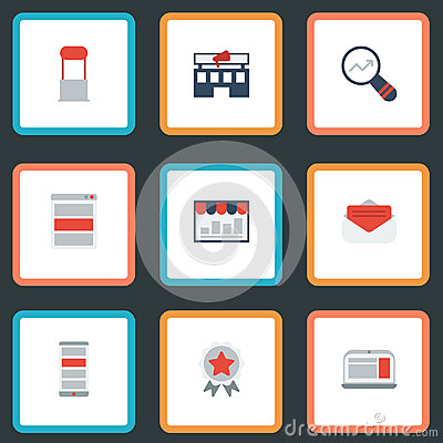 Flat Icons Monitoring, Building, Laptop And Other Vector Elements. Set Of Advertising Flat Icons Symbols Also Includes Vector Illustration