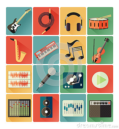 Free Flat Icons Music Set Stock Photos - 38567673