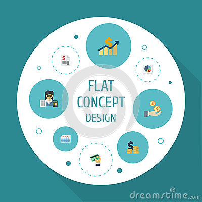Flat Icons Profit, Coins Pile, Sheet And Other Vector Elements. Set Of Registration Flat Icons Symbols Also Includes Vector Illustration