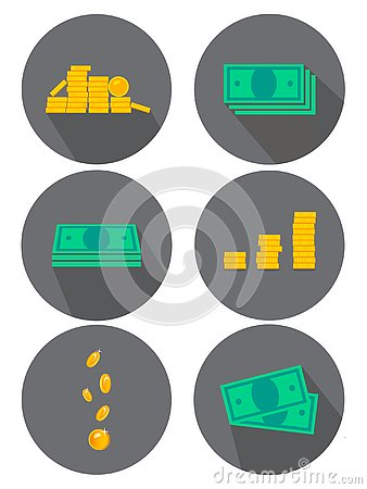 Flat icons set. Variants of money, coins. Ideas for advertising and banners. Vector illustration Cartoon Illustration