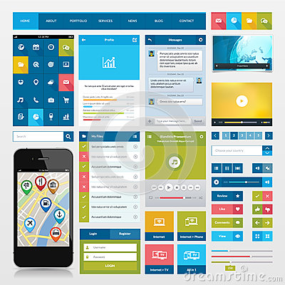 Flat icons and ui web elements for mobile app and