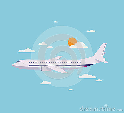 Flat illustration of modern airplane in the sky