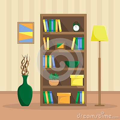 Free Flat Illustration Of A Cozy Bookcase With Books, Clock, Plants Royalty Free Stock Image - 127020966