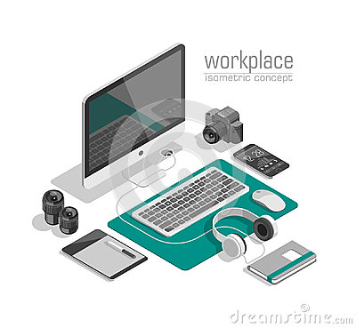 Free Flat Isometric 3d Technology Designer Workspace Concept Vector. Laptop, Smart Phone, Camera, Tablet, Player. Stock Images - 98023504