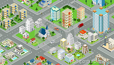 Flat isometric city road model vector. 3d building Vector Illustration