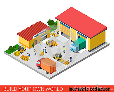 Flat isometric vector warehouse building transport loading box Vector Illustration