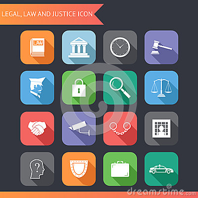 Free Flat Law Legal Justice Icons And Symbols Vector Illustration Royalty Free Stock Photos - 39690008