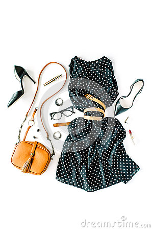 Free Flat Lay Feminine Clothes And Accessories Collage With Black Dress, Glasses, High Heel Shoes, Purse, Watch, Mascara, Lipstick, Ear Stock Photography - 73697572
