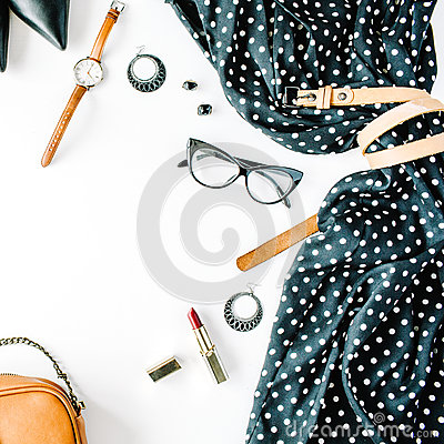 Free Flat Lay Feminine Clothes And Accessories Collage With Black Dress, Glasses, High Heel Shoes, Purse, Watch, Mascara, Lipstick, Ear Stock Image - 73699331