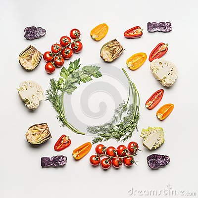 Free Flat Lay Of Colorful Salad Vegetables Ingredients With Seasoning On White Background, Top View, Frame. Healthy Clean Eating Royalty Free Stock Photography - 107756287