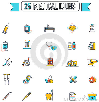 Free Flat Line Color Medical, Physicians, And Hospital Tool Equipment Stock Image - 72781591