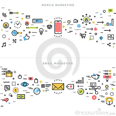 Free Flat Line Design Concepts For Corporate Marketing Stock Image - 61640481
