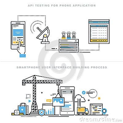 Flat Line Design Concepts For Mobile Apps Development And