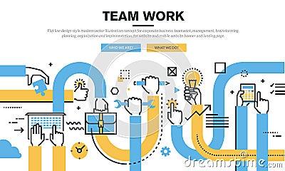 Flat line design style modern vector illustration concept for corporate business Vector Illustration