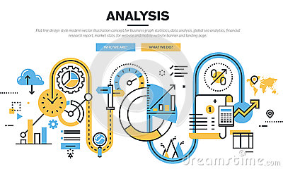 Flat line design vector illustration concept for data analysis Vector Illustration