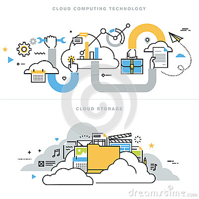 Free Flat Line Design Vector Illustration Concepts For Cloud Computing Stock Photos - 61640273