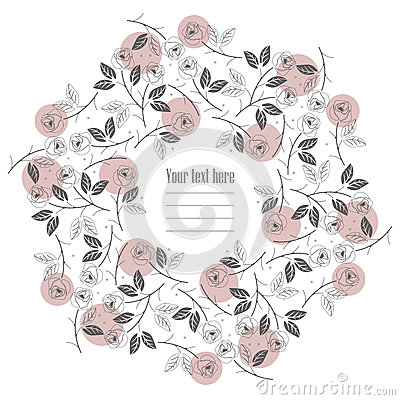 Free Flat Line Round Frame With Roses Isolated On White Background Royalty Free Stock Photography - 73861567