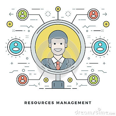 Free Flat Line Team Building And Resources Management Concept. Vector Illustration. Stock Image - 67938601