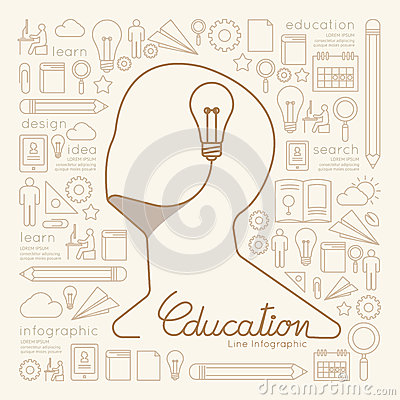 Free Flat Linear Infographic Education Man Creative Thinking. Stock Photo - 50841030
