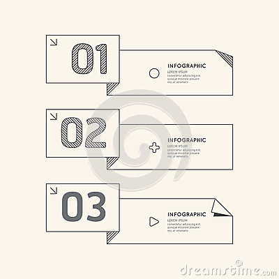 Flat Linear Infographic Number Banner Outline Concept.Vector ...
