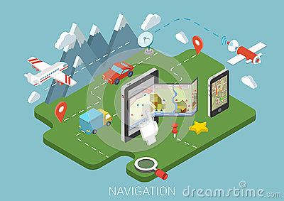 Flat map mobile GPS navigation infographic 3d isometric concept Vector Illustration