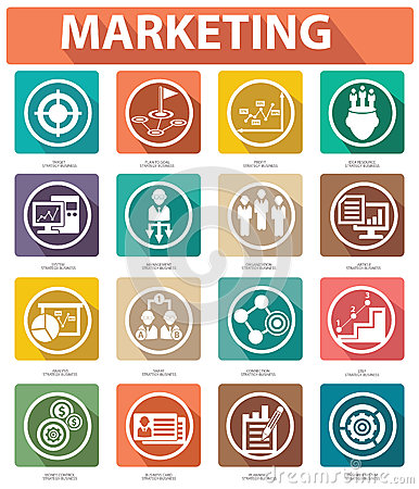 Free Flat Marketing Icons,Colorful Version Royalty Free Stock Photo - 35520635