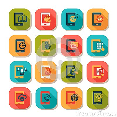 Flat mobile icons