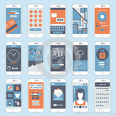 Free Flat Mobile Touch Screen Phones Interface Windows Vector Stock Photos - 46030683