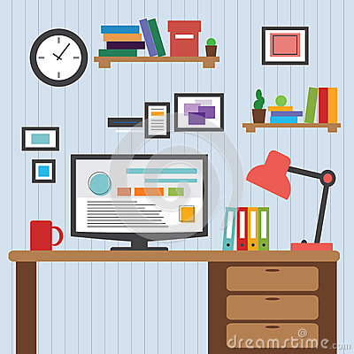 Flat of modern office interior designer desktop showing for Interior design application for pc