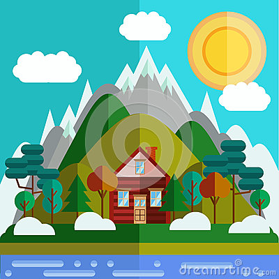 Free Flat Mountaines Landscape Royalty Free Stock Image - 66905956