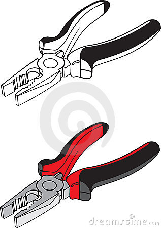 Flat-nose pliers black-and-white and colour