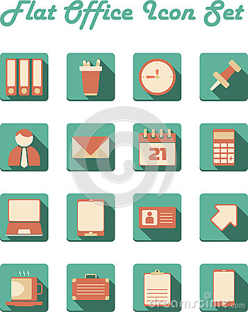 Flat Office Icon Set