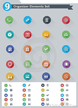 Free Flat Organizer Elements Icon Set Stock Photos - 35273913
