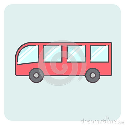 Free Flat Outlone Red Bus Icon Stock Photo - 92333540