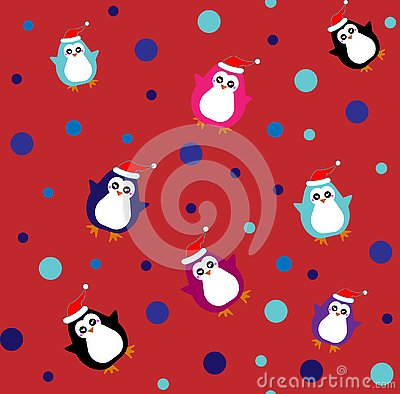 Flat pattern with cute penguins in different color. Vector Illustration