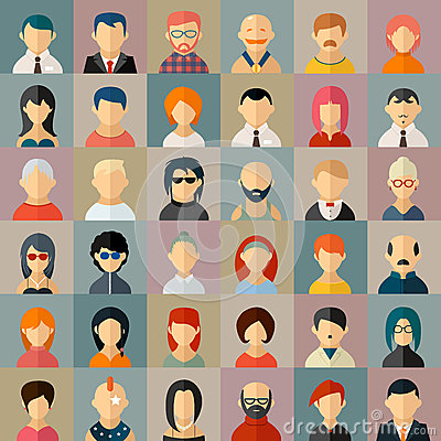 Free Flat People Character Avatar Icons Royalty Free Stock Photos - 54831248