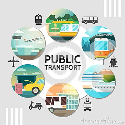 Free Flat Public Transport Round Concept Royalty Free Stock Images - 121217419