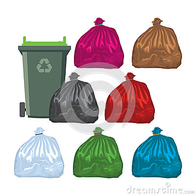 Free Flat Recycling Wheelie Bin With Garbage Bags. Vector  Royalty Free Stock Images - 96801259